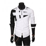 image of TRENDY TURN DOWN COLOR FULL SLEEVE COLOR BLOCK SHIRT FOR MEN XL