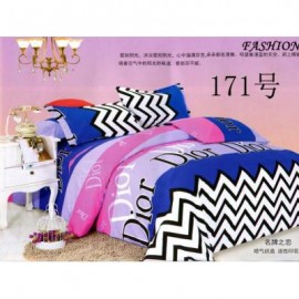 image of QUEEN SIZE FITTED BEDDING SET / 3PCS / ZIG-ZAG Queen