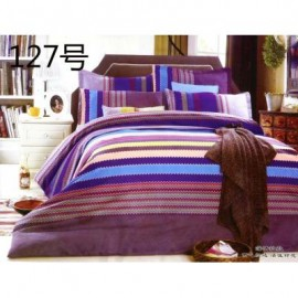 image of QUEEN SIZE FITTED BEDDING SET / 3PCS / STRIPE Queen
