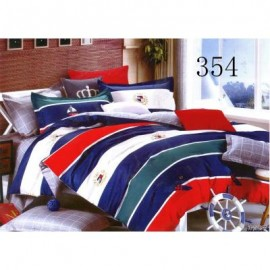 image of QUEEN SIZE FITTED BEDDING SET / 3PCS / STRIPE DARK Queen
