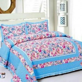 image of HIGH QUALITY BEDSHEET PATCHWORK QUEEN SET OF 3 BLUE FLOWER WITH LACE BORDER Queen
