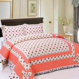 image of HIGH QUALITY BEDSHEET PATCHWORK QUEEN SET OF 3 POKA DOT WITH LACE BORDER Queen