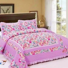 image of HIGH QUALITY BEDSHEET PATCHWORK QUEEN SET OF 3 PINK FLOWER WITH LACE BORDER Queen