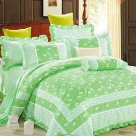 image of HIGH QUALITY BEDSHEET PATCHWORK QUEEN SET OF 3 WITH LACE BORDER Queen