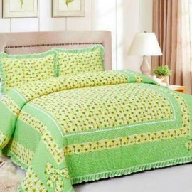 image of HIGH QUALITY BEDSHEET PATCHWORK QUEEN SET OF 3 GREEN SUNFLOWER WITH LACE BORDER Queen