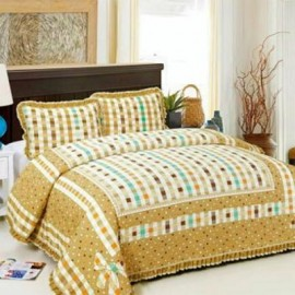 image of HIGH QUALITY BEDSHEET PATCHWORK QUEEN SET OF 3 BROWN WITH LACE BORDER Queen