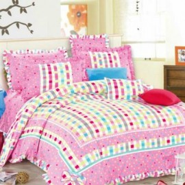image of HIGH QUALITY BEDSHEET PATCHWORK QUEEN SET OF 3 PINK WITH LACE BORDER Queen