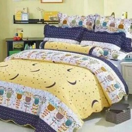 image of MULTICOLOUR FLOWER PATCHWORK BEDSHEET COTTON SET King / Queen
