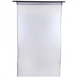 image of 1 X 2M PURE COLOR SHEER VOILE WALL ROOM DIVIDER WINDOW CURTAIN (BLACK) 100 X 200CM