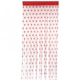 image of 2 X 1M ROMANTIC HEART SHAPE LINE TASSEL STRING DOOR CURTAIN ROOM WINDOW DIVIDER (RED)