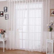 image of 100CM X 200CM FLOCKING FLORAL PRINTED SHEER WALL ROOM DIVIDER CURTAIN (WHITE)