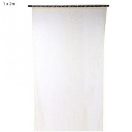 image of 100CM X 200CM FLOCKING FLORAL PRINTED SHEER WALL ROOM DIVIDER CURTAIN (BEIGE) 100 X 200CM