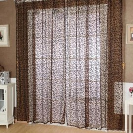 image of 100CM X 200CM FLOCKING FLORAL PRINTED SHEER WALL ROOM DIVIDER CURTAIN (COFFEE)