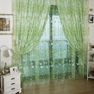 image of 100CM X 270CM CHIFFON GAUZE VOILE WALL ROOM DIVIDER FLORAL PRINTED CURTAIN (GREEN)