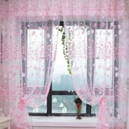 image of 100CM X 270CM CHIFFON GAUZE VOILE WALL ROOM DIVIDER FLORAL PRINTED CURTAIN (PINK)