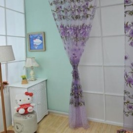 image of 1M X 2M FLORAL PRINTED TULLE VOILE WALL ROOM DIVIDER CURTAIN (PURPLE)