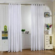 image of 100 X 250CM PURE COLOR GROMMET RING TOP BLACKOUT WINDOW CURTAIN (WHITE)