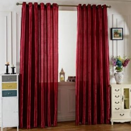 image of 100 X 250CM PURE COLOR GROMMET RING TOP BLACKOUT WINDOW CURTAIN (WINE RED)