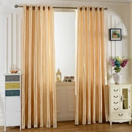 image of 100 X 250CM PURE COLOR GROMMET RING TOP BLACKOUT WINDOW CURTAIN (BEIGE)