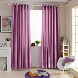 image of 100 X 250CM PURE COLOR GROMMET RING TOP BLACKOUT WINDOW CURTAIN (PURPLE)