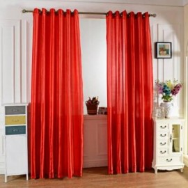image of 100 X 250CM PURE COLOR GROMMET RING TOP BLACKOUT WINDOW CURTAIN (RED)