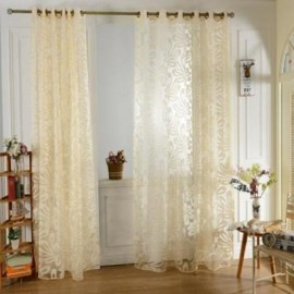 image of 100 X 250CM EUROPEAN FLOWER PRINTED TULLE WINDOW CURTAINS HOME DECOR (YELLOW)