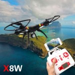SYMA X8W WIFI FPV HEADLESS MODE 2.4GHZ 6 AXIS GYRO RC QUADCOPTER WITH 0.3MP CAMERA 3D ROLL STUMBLING FUNCTION (FULL BLACK)