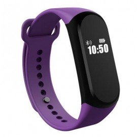 image of A16 BLE 4.0 ADI SENSOR HEART RATE SMART BRACELET WITH ALARM 30 DAYS STANDBY TIME (PURPLE) 23.65 x 1.40 x 1.02 cm
