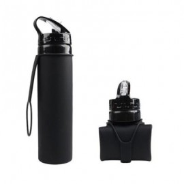 image of OS002 PORTABLE FOLDING LEAKPROOF SILICONE WATER BOTTLE KETTLE CUP OUTDOOR SPORT CAMPING (BLACK) 0