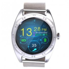 image of CACGO K89 BLUETOOTH 4.0 HEART RATE MONITOR SMART WATCH (SILVER STEEL BAND / LEATHER BAND) 25.00 x 4.30 x 1.30 cm