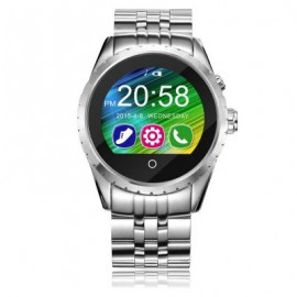 image of C5 SAPPHIRE GLASS MIRROR BLUETOOTH 3.0 / 4.0 SMART WATCH IPS DISPLAY SCREEN LEATHER BAND