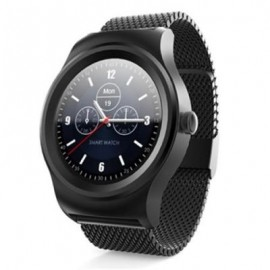 image of SMA - R HEART RATE MONITOR SMART WATCH DUAL BLUETOOTH WRISTBAND (BLACK) STEEL BAND