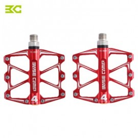 image of BASECAMP BC - 688 PAIRED ALUMINUM ALLOY ANTI-SLIP MOUNTAIN BIKE PEDAL FIXED GEAR TREADLE WITH 4 BALL BEARING BICYCLE ACCESSORIES (RED)