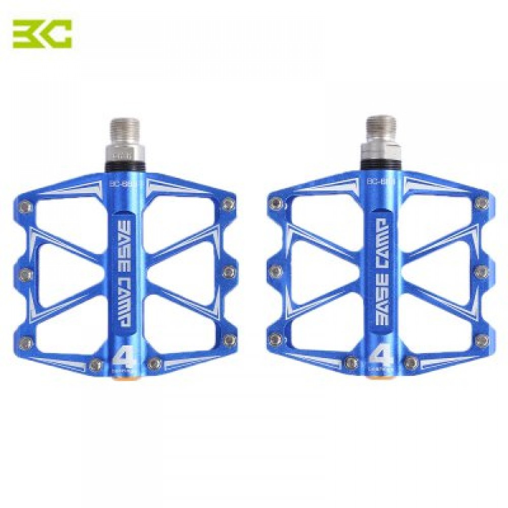 BASECAMP BC - 688 PAIRED ALUMINUM ALLOY ANTI-SLIP MOUNTAIN BIKE PEDAL FIXED GEAR TREADLE WITH 4 BALL BEARING BICYCLE ACCESSORIES (BLUE)