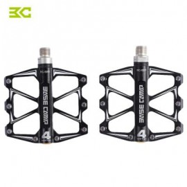 image of BASECAMP BC - 688 PAIRED ALUMINUM ALLOY ANTI-SLIP MOUNTAIN BIKE PEDAL FIXED GEAR TREADLE WITH 4 BALL BEARING (BLACK) 22.00 x 12.50 x 3.50 cm