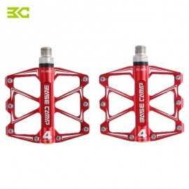 image of BASECAMP BC - 688 PAIRED ALUMINUM ALLOY ANTI-SLIP MOUNTAIN BIKE PEDAL FIXED GEAR TREADLE WITH 4 BALL BEARING (RED) 22.00 x 12.50 x 3.50 cm