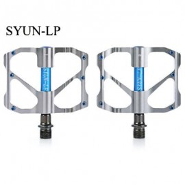 image of SYUN-LP PAIRED FASHION ALUMINUM ALLOY BIKE PEDAL FOR MOUNTAIN ROAD BICYCLE (BLUE + GRAY) 9.70 x 9.50 x 1.70 cm