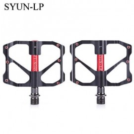 image of SYUN-LP PAIRED FASHION ALUMINUM ALLOY BIKE PEDAL FOR MOUNTAIN ROAD BICYCLE (RED WITH BLACK) 9.70 x 9.50 x 1.70 cm