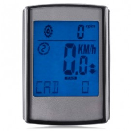 image of LARGE SCREEN WATER RESISTANT WIRELESS LCD BACKLIGHT 3 IN 1 BICYCLE COMPUTER ODOMETER SPEEDOMETER VELOMETER (SILVER)