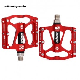 image of SHANMASHI PAIRED ALUMINIUM ALLOY ROAD MOUNTAIN BICYCLE PEDAL (RED)