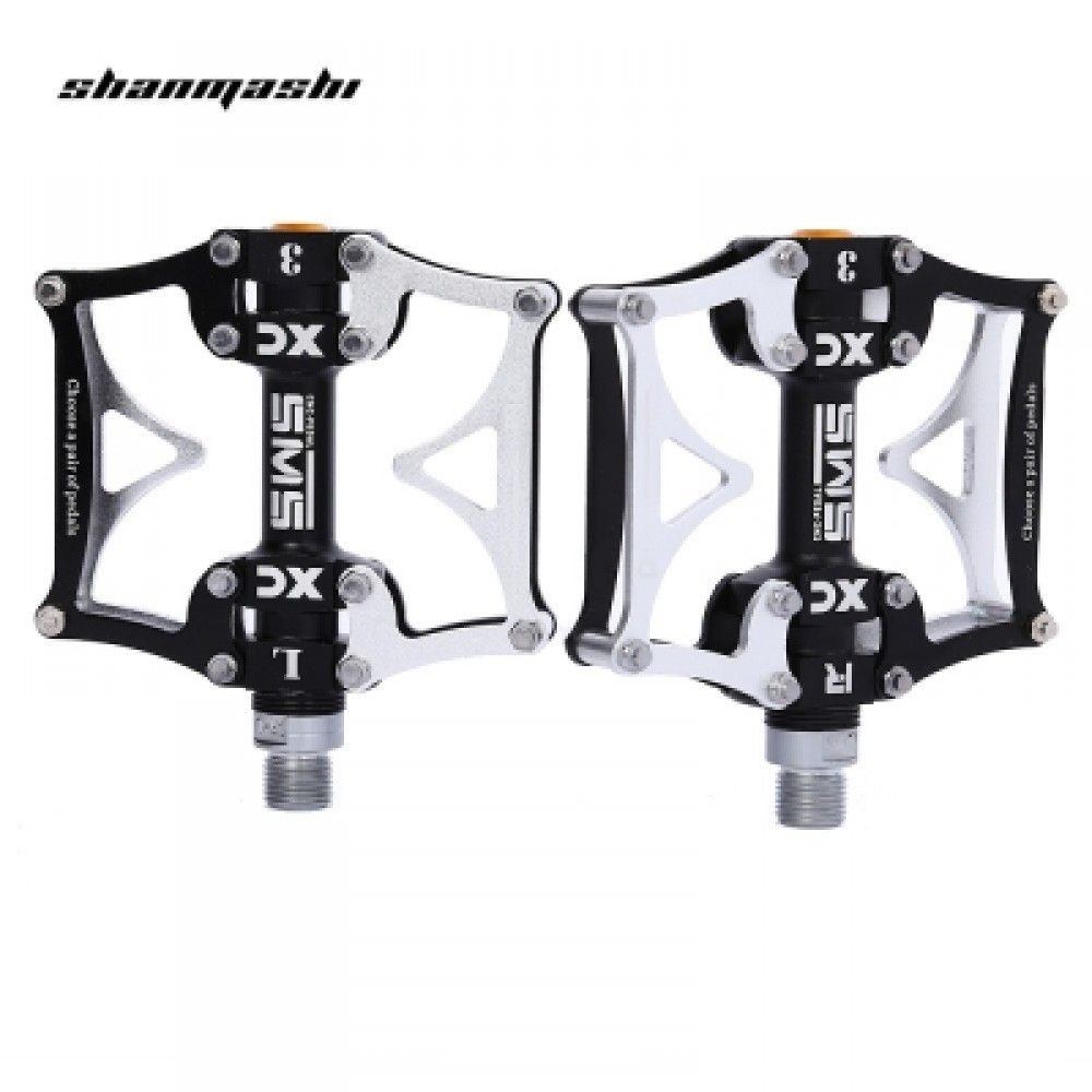 SHANMASHI SMS - 12T PAIRED 3 BEARING ROAD MOUNTAIN BICYCLE PEDAL (BLACK AND SILVER)
