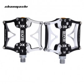image of SHANMASHI SMS - 12T PAIRED 3 BEARING ROAD MOUNTAIN BICYCLE PEDAL (BLACK AND SILVER)