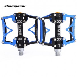 image of SHANMASHI SMS - 12T PAIRED 3 BEARING ROAD MOUNTAIN BICYCLE PEDAL (BLACK AND BLUE)