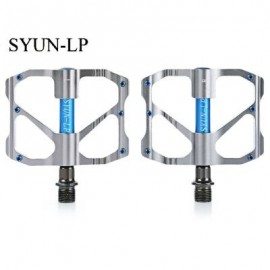 image of SYUN-LP PAIRED FASHION ALUMINUM ALLOY BIKE PEDAL FOR MOUNTAIN ROAD BICYCLE (BLUE+GRAY)