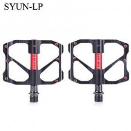 image of SYUN-LP PAIRED FASHION ALUMINUM ALLOY BIKE PEDAL FOR MOUNTAIN ROAD BICYCLE (RED WITH BLACK)