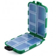 image of 10 COMPARTMENTS MINI PORTABLE FISHING LURE SPOON HOOK RIG BAIT STORAGE CASE (GREEN) -