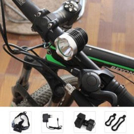 image of DARK KNIGHT K1A CREE XML-U2 LED HEADLIGHT 6 MODES HEADLAMP BICYCLE LIGHT - EU PLUG 1200LM 7000K (BLACK) EU PLUG