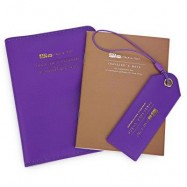 image of 3PCS SOLID COLOR BUS LETTER EMBELLISHMENT PASSPORT HOLDER LUGGAGE TAG NOTEBOOK FOR UNISEX (PURPLE) VERTICAL