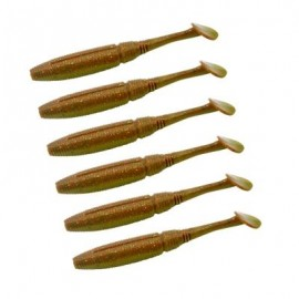 image of HONOREAL 5CM BASS SOFT PLASTIC BAIT FRESHWATER AND SALTWATER SHRIMP FLAVOUR FISHING LURE 6PCS (COPPER COLOR) 0