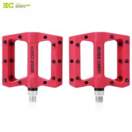 image of BASECAMP BC - 672 PAIRED FASHION NYLON BIKE PEDAL FOR MOUNTAIN ROAD BICYCLE (RED) 10.50 x 12.50 x 2.00 cm